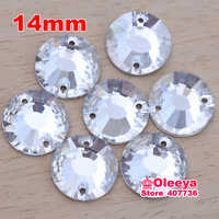 New ! Hot ! 98pcs 14mm Round Sew on Crystal Rhinestones Clear Crystal  Rivoli Flatback sew on Beads for Bags Shoes Gartment