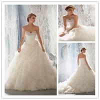 2014 Gorgeous Hand Beaded Sweetheart Neck Ruffled Layered Organza Skirt Long Train Ball Gown Wedding Dresses