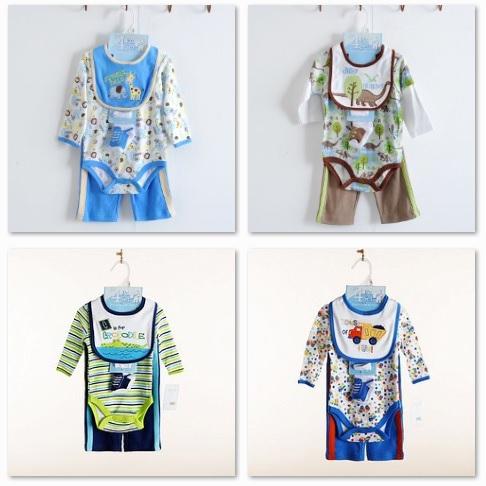 Baby Gear 4 pieces set Carter's Newborn Bodysuits Pants Socks Bibs Suit Retail Free Shipping(China (Mainland))