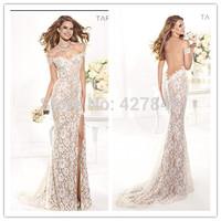 2014 New Arrival Tarik Ediz Off Shoulder Side Slit Backless Lace Evening Dress Evening Gown Champagne Nude Color