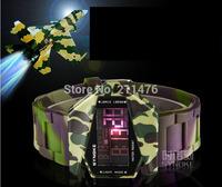 Min.order (mix order)Digital LCD LED Backlight Date Sportwatch waterproof Rubber Unisex Military Camouflage Sport Wrist Watch