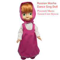 Russian Language Masha and The Bear Electronic Toy Stand Sing and Dance Doll Brinquedos Classic Toys For Children Girl Kids