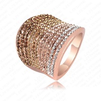 Retail-Free Shipping Christmas Gradient Austrian Crystal Engagement Rings/Promise Ring 18K Rose Gold Plated Charm Jewelry Ring