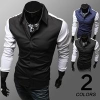 2014 Autumn Men's Patchwork Slim Fit Long Sleeve Casual Business Shirts Plus Size