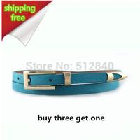 Buy 3 Get 1 women Leather belt 2014 Genuine leather strap pigskin belt piece set metal women's belt thin belt women's brands