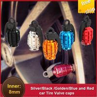 Wholesale 2x2pcs car accessories Grenade Bike Car Motors  Tire Tyre Air Valve Dust Car Cap Cover tyres  FREE SHIPPING