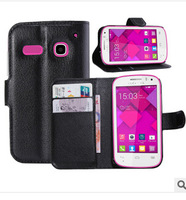 Luxury Wallet leather Case for One Touch Pop C3 OT-4033D leather cover case with credit card slots