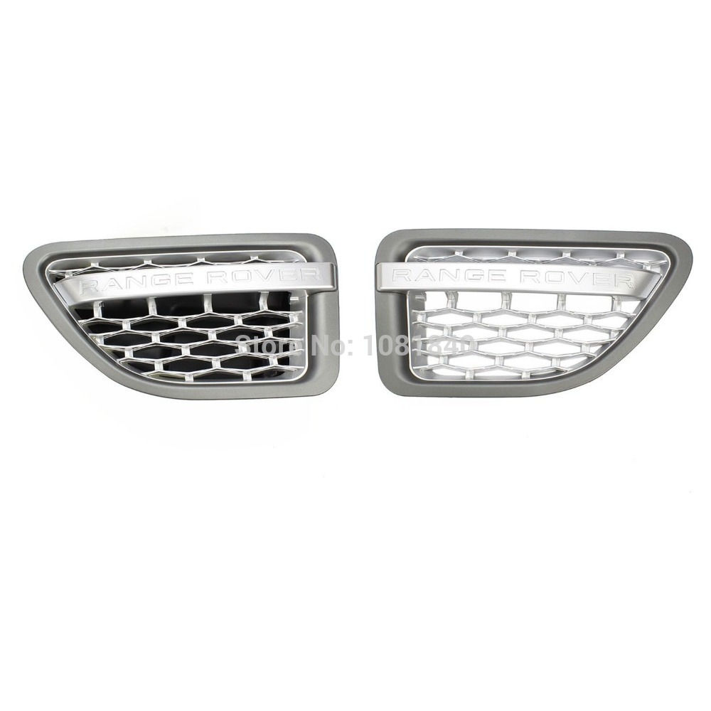 2X Grey Silver GRILL RANGE ROVER SPORT Wing SIDE VENTS AIR for LAND ROVER 06-09(China (Mainland))