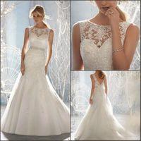Free Shipping Gorgeous Lace Appliqued White Ivory Organza Mermaid Wedding Dress Bridal dress