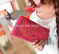 2014 New Classic explosive dual fold hollow bag Women Long Wallet lady purse card free shipping