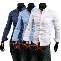 Free Shipping 2014 Mens Slim fit stylish Dress Long Sleeve Shirts Mens dress shirts 9066