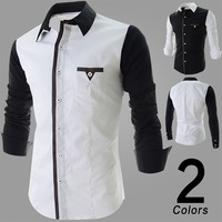 2014 Autumn Men's Fashion Black/White Patchwork Slim Fit Long Sleeve Casual Shirts Mens Dress Shirts