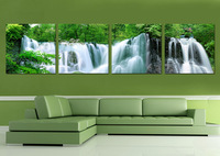 4 Panel modern wall art home decoration frameless oil painting canvas prints pictures P703 green trees waterfall landscapes