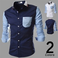 2014 Mens Patchwork Slim Fit Tee Shirts Dress Shirts Fashion Casual Shirts Long Sleeve