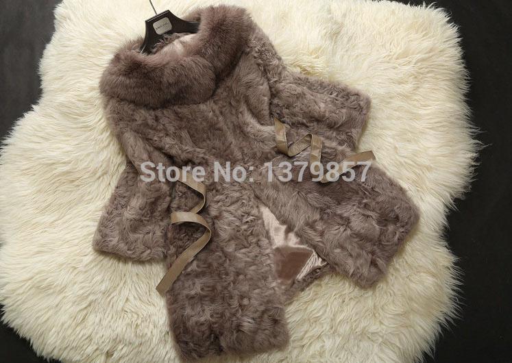 Winter Warm Real Sheep Fur Coat With Fox Fur Collar Sheep Fur Jacket Fur OuterwearTP9042(China (Mainland))