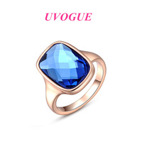 New top quality 18k rose gold/platinum plated Austria SWA blue crystal vintage fashion finger ring jewelry (UVOGUE UE00105)