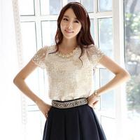 Korean Style Women Ladies Lace Shirt Tee Bead Chiffon Blouse Tops Short Sleeve Free&DropShipping