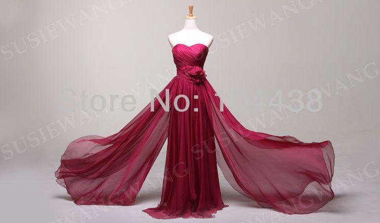 Hot Sale Cheap Prom vestido sem alças Sexy Andar de comprimento Vestido de Noite Império Flor verdadeira foto(China (Mainland))