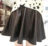 new PU leather skirts wholesale Pleated tall waist leather[240469]
