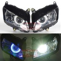 Fully Assembled Motorcycle HID Headlight 6000K w/Blue Angel Demon Eyes For Motor CBR 600RR 2007-2011 #3469