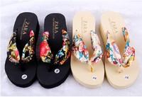 Summer stamping silk towel sponge waterproof beach slippers