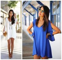 plus size XL 2014 Summer dress Women Sexy Chiffon Casual Party Evening Short Mini Dress loose white black dresses  ay655599