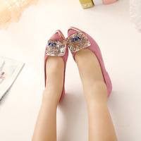 2014 summer new style women sexy single shoes fashion genuine leather cz diamond flat sandals size41 42 43 free shipping