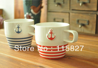 Free Shipping navy design 2pcs/lot Ceramic  cup coffee Mug Painting Milk Cup Office cup couple cup Gift