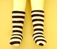 11# ACC Black Stripe Socks/Stockings 1/6 SD BJD Dollfie