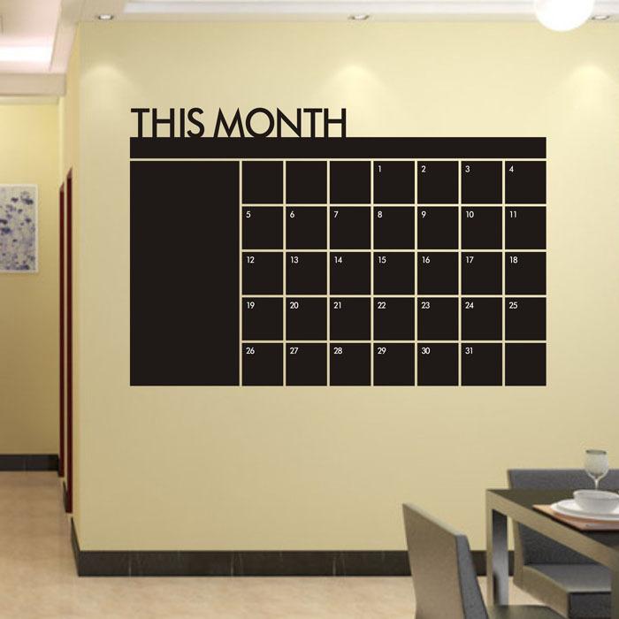 selljimshop 60x92 Month Plan Calendar Chalkboard MEMO Blackboard Vinyl Wall Sticker jimshopping(China (Mainland))