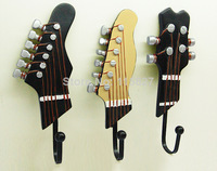 Free Shipping! 3pcs/lot Vintage Style Guitar design Iron Hook Hand-painted Resin Hook High Quality Home Decoration