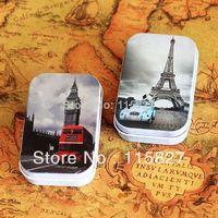 Free Shipping! 12pcs/lot  Elizabeth Tower big ben Eiffel tower Tin Storage Box Retro Metal Jewelry Case pill case mini candy