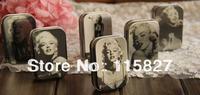 Free Shipping! 12pcs/lot Classic Collection Marilyn Monroe Mini Tin Storage Box Retro Metal Jewelry Case pill case 6 design
