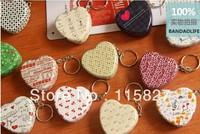 Free Shipping 12pcs/lot keychain mini box metal case heart shape Tin Box Metal Storage case  Jewelry Case Candy Box pill case