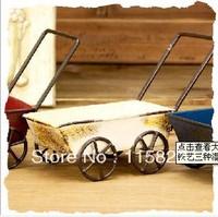 Free Shipping! 3pc/lot Vintage Style Mini Metal Garden Trolleys Model Handmade Diecast Model Desktop Decoration Gift