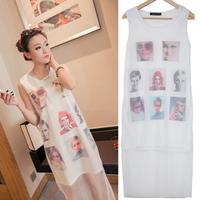 Korean Version Of The Three-dimensional Printing Female Dress Portraits Stitching Pattern Sleeveless Vest  Casual Dress lyq127