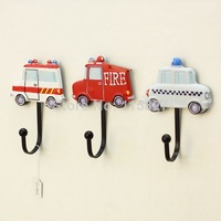 Free Shipping! 3pcs/lot Vintage Style Emergency car design Iron Hook Hand-painted Resin Hook High Quality Home Decoration