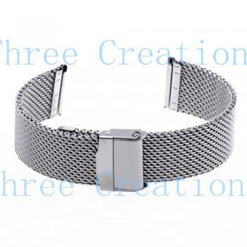 5pcs 22 milímetros Unisex malha de aço faixa de relógio pulseira jóias Segurança Fivela de Prata Hot SB0597(China (Mainland))