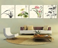 4 Panel modern wall art home decoration frameless oil painting canvas prints pictures P722 Chinese lotus bamboo orchid paintings