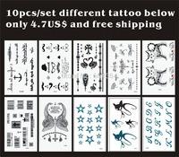 Free ship/10pcs/lot,temporary tatoo/English Letter,Anchor,Swan,dragonfly,cats,bar code/waterproof,transfer tattooed fake arts/CE