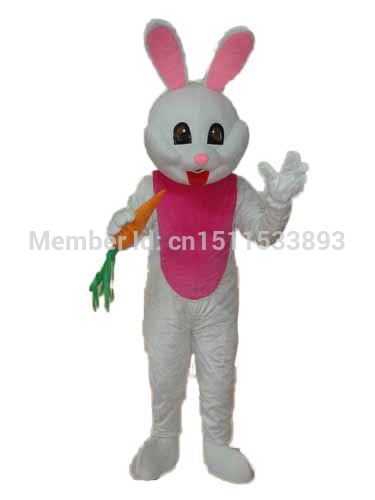 High quality Easter Bunny with Carrot White Pink Mascot Costume Character Halloween Costumes Fancy Dress Suit Free Shipping(China (Mainland))