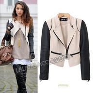 New Women's Clothing Brand Fashion Cool Motorcycle Khaki Contrast PU Leather Long Sleeve Crop Short Jacket Coat AY851779