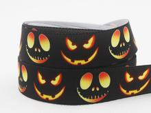 """Free shipping 50 yd 7/8"""" Halloween pumpkin decorating Grosgrain ribbon Printed,hair bow DIY handmade,22mm Black ribbon ZD1742(China (Mainland))"""