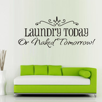 2014 New  58x25CM Laundry Fashion Artistic Peel and Stick Wall Stickers Decals Free shipping &wholesale