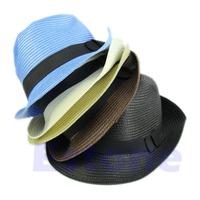 Fashion Women Trilby Cap Summer Beach Sun Straw Panama Style Hat Unisex