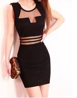 Promotion!! New 2014 Summer Black White Stripes Transparent Lace Women's Dress Casual Vestidos