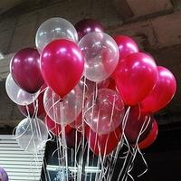 NEO 10'' 100ct Assorted Clear & Burgundy & Fuchsia Latex Balloons