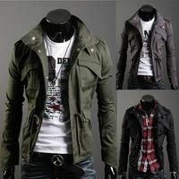 2014 Autumn Winter Men's Trench Coat Jacket Overcoat Military Casual Slim Fit Designer Pocket 3 Colors
