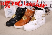 Free shipping 2014 New Black/brown/white genuine Leather high top  V brand men sneakers