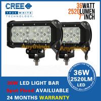 "2 Pcs 7"" 36W Cree LED Work Light Bar Lamp Tractor Boat Off-Road 4WD 4x4 12v 24v Truck SUV ATV Spot Flood Super Bright"